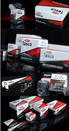 Tasco is one of Alkemistri's most recent packaging design and print project. A series of sparepart packaging in corrugated boxes, with high quality and precision color printing of red, black, and silver. The label applications on metallic stickers with product illustration are also used on the packaging for coding purposes Branding Agency, Logo Branding, Food Packaging, Packaging Design, Brand Campaign, Corrugated Box, Print Ads, Red Black, Metallic