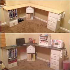 Built this desk based on one i saw on here, love it! Half for school, the other for my sewing! Its organized, alot of space and the top of the desk has SPARKLESSS! Sewing Desk, Diy Sewing Table, Sewing Cabinet, Sewing Rooms, Craft Room Desk, Craft Room Storage, Diy Desk, Homemade Cabinets, Homemade Desk