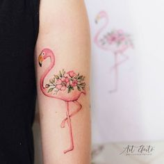 """207 Likes, 9 Comments - Art Efeito  (@artefeito) on Instagram: """"Flamingo maravilhoso feito na Luiza ❤ #flowers #flowertattoo #finelinetattoo #fineline #delicate…"""""""