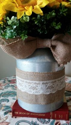 milk can trimed in burlap and lace