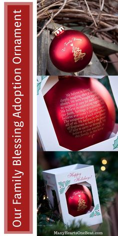 Our Family Blessing Ornament Holiday Ornaments, Holiday Gifts, Christmas Bulbs, Christmas Gifts, Adoption Gifts, Adoption Day, Creative Gifts, Unique Gifts, Cute Gifts