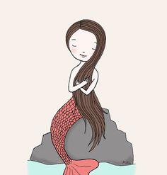 Mermaid Illustration Print Instant Download Nautical Nursery Art Illustration Drawing Peach Coral Baby Girl Children DIY Home Wall Decor