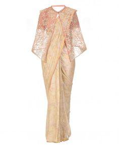 Gold Foil Floral Saree with Cape - Sarees - Women's Ethnic Wear - Women - Designer