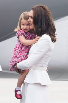 Catherine Duchess of Cambridge Princess Charlotte of Cambridge arrive at Warsaw airport during an official visit to Poland and Germany on July 17...