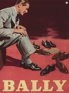 Vintage Poster Design 'Bally (Men's Shoes)' by Hans Neumann, Austria / Au … - Just Mode Vintage, Vintage Shoes, Vintage Ads, Retro Advertising, Vintage Advertisements, Retro Ads, Bally Mens Shoes, Fürstentum Liechtenstein, Shoe Poster