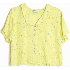 Vintage 90s Cropped Floral Blouse in Pale Yellow Crepe Top women's... (€32) ❤ liked on Polyvore featuring tops, blouses, yellow blouse, flower print blouse, vintage blouses, vintage crop top and cut-out crop tops