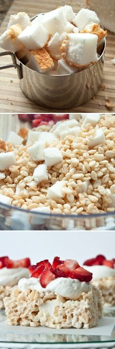 Strawberry Shortcake Rice Krispie Treats  2 1/2 c. Rice Krispie Cereal  1 heaping cup angel food cake squares  2 1/4 c. marshmallows  1 1/2 tbsp butter  1 c whipping cream  2-3 tbsp sugar (depending on how sweet you like it)  1 tsp vanilla  2 cups diced strawberries
