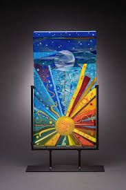Starbright, Randie Silverstein Fused Glass-Luckydog Arts and Design Broken Glass Art, Sea Glass Art, Glass Wall Art, Window Glass, Mosaic Art, Mosaic Glass, Fused Glass, Blown Glass, Slumped Glass