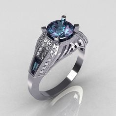 Aztec-Edwardian 10K White Gold 1.0 CT Round and Baguette Alexandrite Diamond Engagement Ring