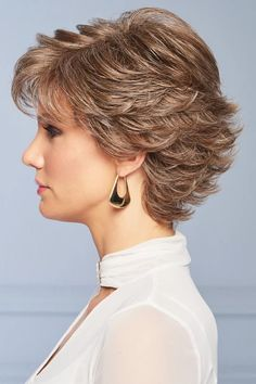 With its wispy texture and multitude of razor-tapered layers, this short silhouette has beautiful movement and lift. Gentle waves throughout flatter a variety of face shapes. Wear this versatile cut smooth and slick or fluff up the flipped ends. Short Hair With Layers, Short Hair Cuts, Swedish Blonde, Gabor Wigs, Light Blonde Highlights, Beige Blonde, Medium Blonde, Hair Dos, Curly Hair Styles