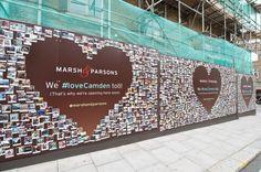 Marsh & Parsons (Camden) An impressive 4 part hoarding wrap, printed direct to dibond #Hoarding #EstateAgents #Signage