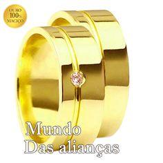 Aliança em ouro com diamante