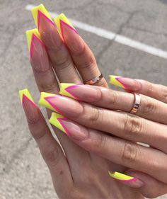 nails 52 Gorgeous Coffin French Tip Nail Designs Wedding And Bridal Shower Favors From Wooden Spoons Bright Nails, Neon Nails, Yellow Nails, Swag Nails, My Nails, Bright Summer Acrylic Nails, French Nails Glitter, Long French Tip Nails, Nail French