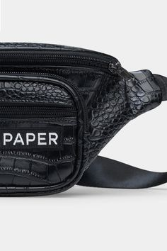 Statement Accessories – Season 7 - Daily Paper Black Crocodile Bumbag Waist Belt Paper Logo, Daily Papers, Waist Pack, Product Label, Season 7, Hand Warmers, Crocodile, Soft Leather, Your Style