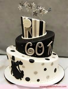 Black and White Topsy Turvy 60th Birthday Cake » Celebration Cakes