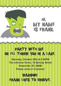 Halloween Invitations, Frankenstein Funny Printable, Personalized, DIY Digital File