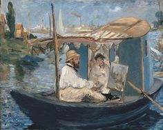 """Manet painting Monet painting.  """"Monet Painting on His Studio Boat"""" (1874) by Edouard Manet"""