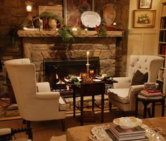 Dinner by the fire from Mary Carol Garrity's new cozy cottage.