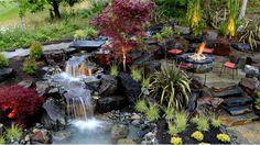 Gartenteich anlegen – Bilder und Ideen für eine kreative Gartengestaltung - gartenteich anlegen gartengestaltung ideen feuerstelle wasserspiele