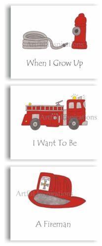 FIRE ENGINE TRUCK FIREMAN KIDS ART PRINTS | eBay