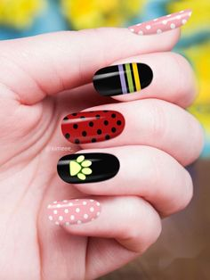 Acrylic Nail Designs Coffin, Simple Acrylic Nails, Summer Acrylic Nails, Best Acrylic Nails, Nail Polish Designs, Ruby Nails, Ladybug Nails, Hippie Nails, Lady Bug