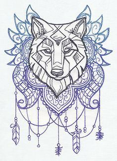 Image result for wolf and flowers drawing