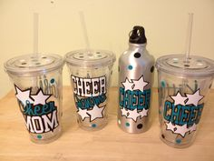 Personalized acrylic tumbler 16 oz w/ straw and lid - Cheer Mom with name or monogram, other sports available, gymnastic, baseball, more. $12.00, via Etsy. Silhouette Cameo Vinyl, Silhouette Projects, Cup With Straw, Tumbler With Straw, Cheer Mom, Cheer Stuff, Acrylic Tumblers, Wagon Wheel, Team Gifts