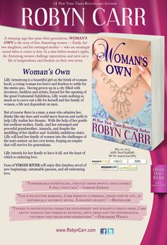 Robyn Carr's WOMAN'S OWN is on Kindle and Nook for $2.99 for a limited time!