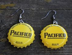 Beer Cap Earrings // Pacifico // Novelty by TheWhimsicalOffshoot, $4.99