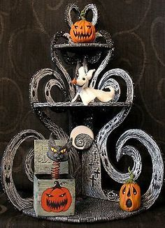 "OOAK ""Nightmare Before Christmas"" Corner Shelf with Halloween Sitters Halloween Town, Holidays Halloween, Halloween Crafts, Happy Halloween, Halloween Decorations, Halloween Stuff, Nightmare Before Christmas, Jack The Pumpkin King, Jack And Sally"