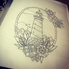 Billedresultat for light house tattoo with banner drawing