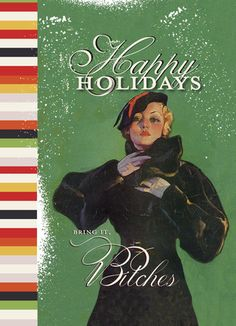 """Holiday Bring It - O+D - Funny Christmas Card. A retro illustration of a woman in a fur coat, retro stripes and a hilarious message make this funny Christmas card unique. Add a funny message of your own inside and share with family and friends. 5"""" x 7"""" Folded Card. Price: $2.99"""