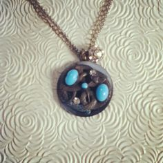 dwallacedesigns snake and turquoise 1800's pin with antique crystals.