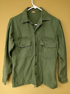 "US ARMY Vietnam Era OG-107 Mans Cotton Sateen Utility Shirt 14.5"" x 33"" No Patch"