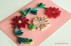 Flowers Quilling Card With Quilled Flowers, Flowers Handmade Quilled Paper Card