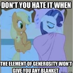 I never noticed that... Don't worry Applejack, you can have some of mine. I have extras...