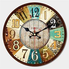 """ShuaXin 12"""" Arabic Numerals Design Rustic Country Tuscan Style Wooden Decorative Round Wall Clock  #Arabic #Clock #Country #Decorative #Design #Numerals #Round #Rustic #RusticWallClock #ShuaXin #Style #Tuscan #Wall #Wooden The Rustic Clock"""