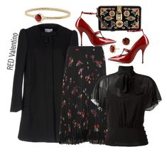 """""""Untitled #1201"""" by onesweetthing ❤ liked on Polyvore featuring RED Valentino, Dolce&Gabbana and David Yurman"""