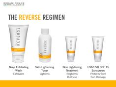 No more harsh chemical peels, etc!  Use the REVERSE Regimen to brighten your complexion! Un-do dullness, dark or brown spots caused by sun damage!  My customers are seeing results in the first week!  Doing MIRACLES for the declotage and neck areas!