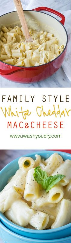 Family Style White Cheddar Mac and Cheese! The silky cheese sauce is out of this world!