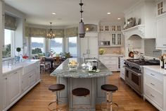 Blue White Breakfast Rooms Design Ideas, Pictures, Remodel, and Decor - page 7 Gray center island with white kitchen cabinet combination