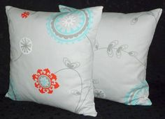 Decorative Throw Pillow Covers - Emma Cotton Twill - Grey Aqua and Red   TheCreativeMind - Housewares on ArtFire