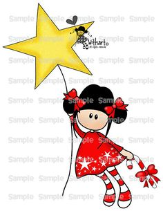 Christmas star flies Nina dolls 0124 clip art set images for