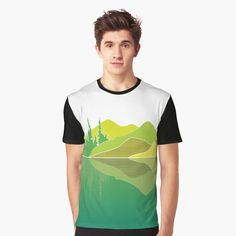 Illustration of a lake scene and a reflection. The artwork makes use of simple lines, a lime colour pallet and geometric pattern. Did you know that lakes are large bodies of water that are surrounded by land and are not part of an ocean?  #tshirt #lakescene #murkywater #foresttrees #mountains #reflections #naturelover #geometricpattern #green #shades of lime #simplistic lines #aesthetic #minimalist #visco #tiktok Cool Gifts For Teens, Green Shades, Simple Lines, Color Pallets, Vignettes, Lakes, Chiffon Tops, Bodies, Classic T Shirts