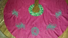 Items similar to Christmas Tree Skirt Embroidered with Wreath and Poinsettias on Etsy Poinsettia, Tree Skirts, Christmas Tree, Wreaths, Embroidery, Cotton, Handmade, Etsy, Needlework