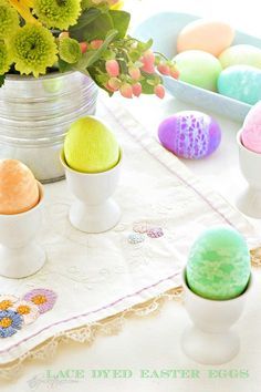 Lace Dyed Easter Eggs from At The Picket Fence. A fun and easy Easter Egg technique! www.atthepicketfence.com