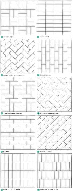 Kitchen backsplash tile or shower tile pattern ideas.