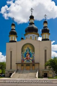 The colourful facade of the Holy Trinity Ukrainian Orthodox Metropolitan Cathedral, in the city of Winnipeg, in Manitoba, Canada. This Cathedral is the Primatial Throne of the Ukrainian Orthodox Church in Canada. Church Pictures, Western Canada, Canadian History, Church Architecture, Cathedral Church, Chapelle, Place Of Worship, Cathedrals, Mosques
