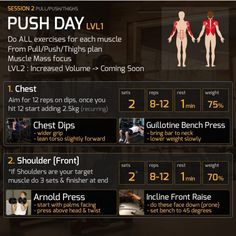 Push/Pull/Legs Split: Day Weight Training Workout Schedule and Plan Push/Pul. - Push/Pull/Legs Split: Day Weight Training Workout Schedule and Plan Push/Pull/Legs Split: D - Push Pull Workout Routine, Push Pull Legs Workout, Full Body Dumbbell Workout, Push Workout, Full Body Weight Workout, Workout Splits, Gym Workout Videos, Weight Training Workouts, Workout Schedule