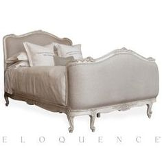Sophia French Country Antique White Louis XV Upholstered Queen Bed Kathy Kuo Home I found the bed of my dreams! Transitional Living Rooms, Transitional Lighting, Transitional Kitchen, French Country Bedrooms, French Country Decorating, Country French, Country Style, King Beds, Colors